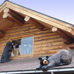 Cute idea for the Cabin. Original Bearfoots and Big Sky Bears Signed by the Artist Jeff Fleming Log Cabin Living, Log Cabin Homes, Log Cabins, Black Bear Decor, Lodge Style, Lodge Decor, Cozy Cabin, Cabins In The Woods, My Dream Home