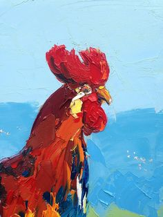Original oil painting of rooster *Title: Rooster in cm) *Style: Abstract, Modern, Contemporary *Media: Original oil panting on canvas *Signed front and back, with Certificate of Authenticity. Rooster Painting, Rooster Art, Oil On Canvas, Canvas Art, Painting Canvas, Art Decor, Kitchen Decor, Saatchi Art, Original Paintings