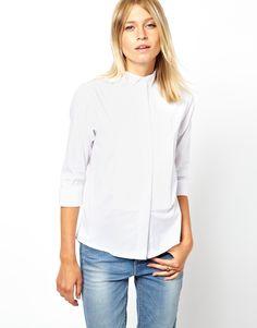 ASOS Shirt With Wing Tip Collar And Pintuck Bib