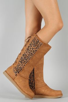 Liliana Honesty-1 Leopard Back Lace Up Knee High Boot $47.80