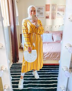 "Unicorn Gallery 🦄 on Instagram: ""Ready for summer 🏖☀️ Our yellow maxi dress on @doaa_okasha 🔥😍 Available in two colors, swipe right 👉🏼 Shop yours now 🛍 #UnicornGallery"" Islamic Fashion, Muslim Fashion, Abaya Fashion, Fashion Outfits, Ootd Fashion, Yellow Maxi Dress, Mode Abaya, Hijab Fashionista, Casual Hijab Outfit"