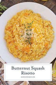 Butternut Squash Risotto is an easy side dish or entrée mad. - Food RecipesButternut Squash Risotto is an easy side dish or entrée made with Arborio rice, crisp white cooking wine, sweet roasted butternut squash and fresh thyme. Rice Side Dishes, Veggie Dishes, Side Dishes Easy, Side Dish Recipes, Pasta Dishes, Vegetable Recipes, Vegetarian Recipes, Cooking Recipes, Healthy Recipes