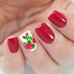 Berry red nail polish and floral accent ===== Check out my Etsy store for some nail art supplies https://www.etsy.com/shop/LaPalomaBoutique