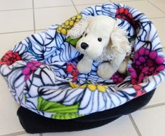 Dog Snuggle  Cuddle Sack Floral Pet Burrow Sleeping Bag by PawPets