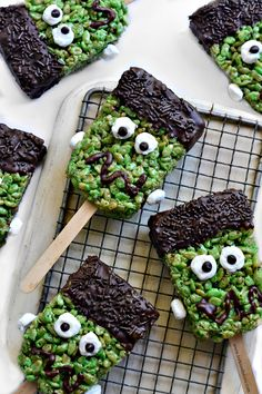 Frankenstein Brown Rice Krispie Treats.  Dairy-Free / Gluten-Free / Kid-Friendly / No Bake / Nut Free / Vegan.