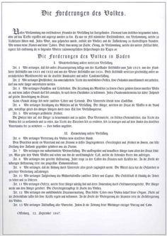 Fresh Die Forderungen des Volkes in Baden vom September