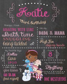 Doc McStuffins Birthday Chalkboard Sign / Printable / Doctor Girls Birthday Chalkboard Poster / second birthday / third birthday