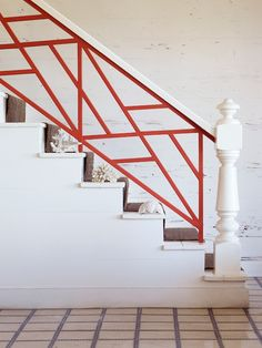 red railing on a white staircase. Staircase Railings, Banisters, Stairways, Hand Railing, Staircase Makeover, Loft Stairs, Basement Stairs, Interior Stairs, Interior And Exterior