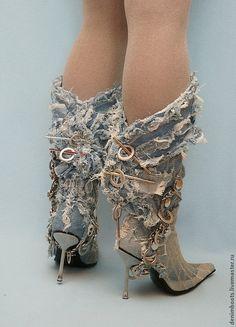 5df422d6c Обувь ручной работы. Ярмарка Мастеров - ручная работа Скидка! Сапоги  джинсовые Лохматики на шпильке. Handmade.