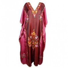 4a4451bc96194 Mogul Womens Designer Maxi Kimono Kaftan Double Shaded Ethnic Floral  Embroidered Kashmiri Caftan Lounge Wear Beach Cover Up Long Dress Resort  Wear Christmas ...