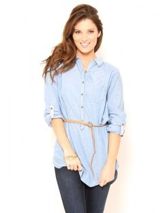 Belted Chambray Top #SFLsummerstyle