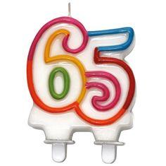 Vela colorida com o número 65 para comemorar o aniversário ou para outra comemoração.