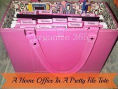 A Home Office In A Pretty File Tote | Organize 365...don't have an office?  This might be your answer!  Jamie Raquel File Tote...64.00...a lot cheaper than a desk!
