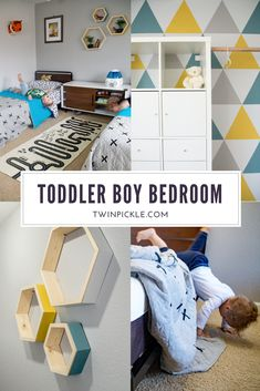 Twin toddler boys' bedroom. Adventure theme, grey, blue, yellow. Mid-century modern style. Boy bedroom. Room for twins. Triangle mural, IKEA Kallax hack, hexagon shelves, monochrome play mat. #kidsdecor #ikeahack #kidsroom #adventuretheme #twins #twinning #toddler