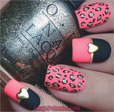 Stunning Pink and Black Nail Designs 2017 - Nails Pink Nail Art, Cute Nail Art, Cute Nails, My Nails, Nail Designs 2017, Black Nail Designs, Best Nail Art Designs, Cheetah Nail Designs, Winter Nail Art