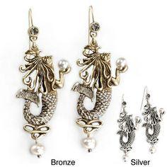 Sweet Romance Art Nouveau Mermaid Pearl Earrings