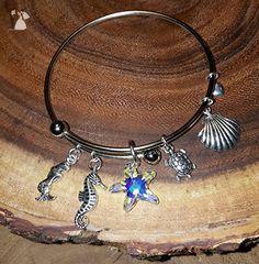 Beautiful Mermaid Charm Bangle Bracelet. - Wedding bracelets (*Amazon Partner-Link)