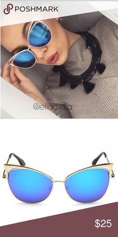 Cateye Metal Frame Mirror Sunglasses New Fashion Sunglasses. Brand new and good quality. UV Protection. Gold frame, Blue lenses. Accessories Sunglasses