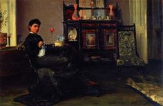 1881 The Athenaeum - A Lady Sewing in a Parlour (Sir John Lavery, R.A. - )