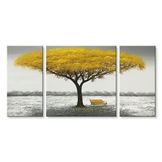 Winpeak Hand Painted Yellow Tree Modern Oil Painting Landscape Abstract Landscape, Landscape Paintings, Canvas Wall Art, Wall Art Prints, Painting Canvas, Canvas Prints, Yellow Tree, Yellow Sunflower, Green Trees