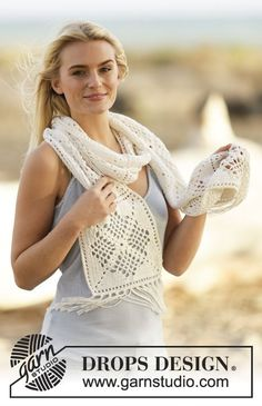 "Sweet #crochet scarf with lace pattern and fringes in ""Safran"". #cotton"