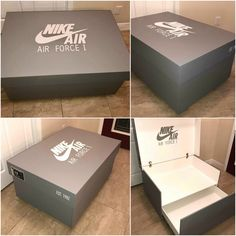 Nike Air Force 1 Shoe Storage Box Source by giantshoeboxes box Kids Shoe Storage, Shoe Storage Solutions, Storage Boxes, Storage Baskets, Storage Ideas, Nike Air Force, Air Force 1, Giant Shoe Box, Sneaker Storage