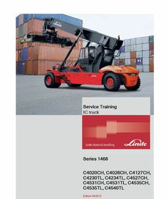 This Linde Series 1468 Reachstacker : Workshop Training Manual contains detailed repair instructions and maintenance specifications to facilitate your repair and troubleshooting. Workshop, Circuit Diagram, High Quality Images, Manual, Transportation, Training, Trucks, Cover, Heavy Machinery