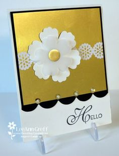 Delicate Lace Tape & Gold Vellum Flower