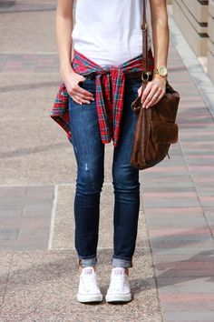 white plain t-shirt- long sleve plaid shirt- dark wash skinny jeans- white converse