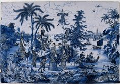 Delftware plaque with Chinoiserie, Netherlands, c. 1680-90