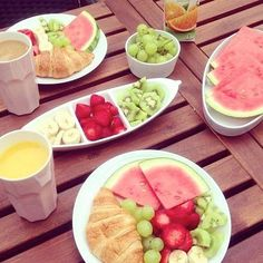 Good morning, have a great day! #breakfast #goodmorning #fruit #croissant