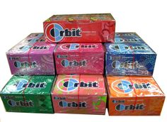 Wrigley's Orbit sugarfree gum. There are 12 packs of gum per box. Each pack has 14 sticks of gum inside.