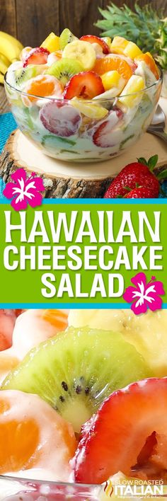 Hawaiian Cheesecake Salad comes together so simply with fresh tropical fruit and a rich and creamy cheesecake filling to create the most glorious fruit salad ever! Every bite is absolutely bursting with island flavor and you are going to go nuts over this Dessert Aux Fruits, Dessert Salads, Appetizer Dessert, Good Food, Yummy Food, Fruit Salad Recipes, Jello Salads, Creamy Fruit Salads, Cream Cheese Fruit Salad