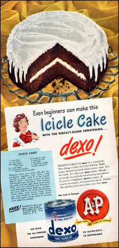 Dying for Chocolate: Icicle Cake: Retro Ad & Recipe
