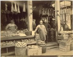 Chinese butcher and Grocery Shop, Chinatown, S. F. The Bancroft Library, University of California, Berkeley./Calisphere.