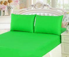 "1200Tc Egyptian Cotton 15""Pocket 6 Pc. Parrot Green King Bedding Set / Bed Sheet"