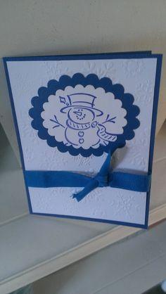 Snowman Christmas Card Handmade Greeting by jennrainescreations, $3.75