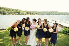 Nautical New England Wedding- navy blue bridesmaid dresses