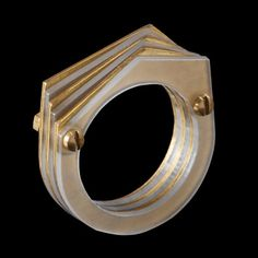 Sarah Angold laser cut acrylic ring with brass