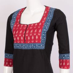 Buy online Hand Crafted Ikat Cotton Kurta With Block Prints & 3/4th Sleeve 10014327 - Size M