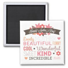 Happy Mother's day typography design Refrigerator Magnet