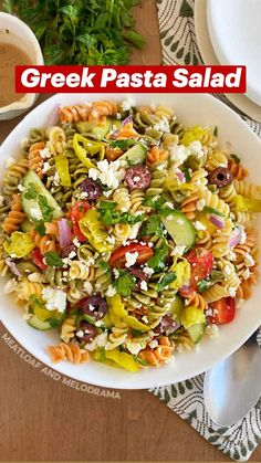 Healthy Pasta Salad, Best Pasta Salad, Greek Salad Pasta, Greek Salad Recipes, Summer Pasta Salad, Best Salad Recipes, Summer Salad Recipes, Healthy Pastas, Healthy Side Dishes