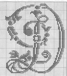 Fancy alphabet letter t Cross Stitch Alphabet Patterns, Cross Stitch Letters, Just Cross Stitch, Cross Stitching, Cross Stitch Embroidery, Plastic Canvas Letters, Crochet Letters, Alphabet And Numbers, Blackwork