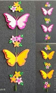 Discover thousands of images about How to Make Easy DIY Paper Butterflies Butterflies made from milk jugs and magic markers. This Pin was discovered by Над Paper Butterflies, Paper Flowers Diy, Felt Flowers, Diy Paper, Paper Crafting, Butterfly Mobile, Butterfly Crafts, Flower Crafts, Foam Crafts