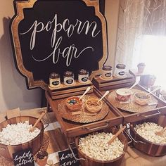 Popcorn bar - styled by The Perfect Palette + Lauren Rae Photography // party food Dessert Bars, Dessert Table, Bar A Bonbon, Silvester Party, Cupcakes, Food Stations, Grad Parties, Birthday Parties, On Your Wedding Day
