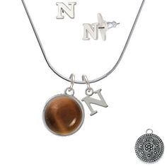 Silvertone Round Brown Imitation Cat's Eye - N Initial Charm Necklace and Stud Earrings Jewelry Set >>> Learn more by visiting the image link. (This is an affiliate link) #JewelryForWomen
