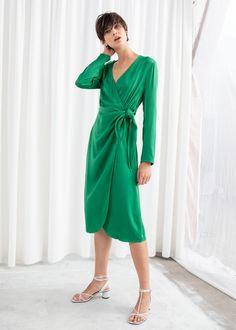 5c7b54b294c Side Tie Satin Midi Dress - Green - Midi dresses -  amp  Other Stories Green