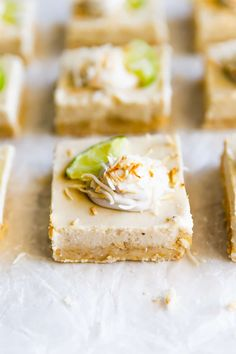 Dairy-free, grain-free, gluten-free, and refined sugar free coconut key lime pie bars made with wholesome ingredients. The perfect dessert for just about any occasion!