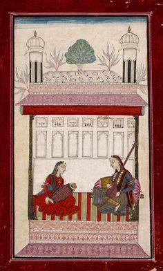 Karnati Ragini, Folio from a Ragamala (Garland of Melodies).      India, Himachal Pradesh, Bilaspur, circa 1730-1740.  LACMA