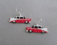 Dachshund Earrings in Delica seed beads by DsBeadedCrochetedEtc